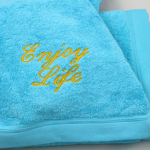 serviette enjoye life turquoise jaune