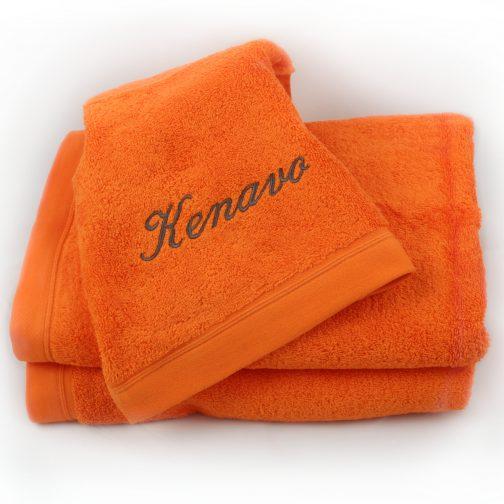 serviette orange brodée anthracite