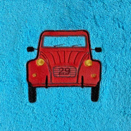 serviette peps turquoise 2cv rouge