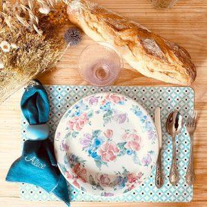 serviette de table en lin français personnalisée