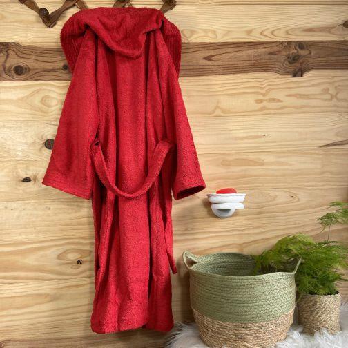 peignoir ado personnalisé rouge capuche