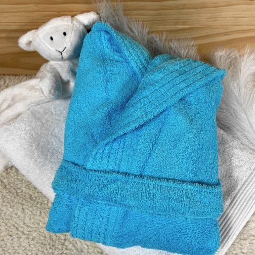 peignoir bébé personnalisé bleu caraïbes