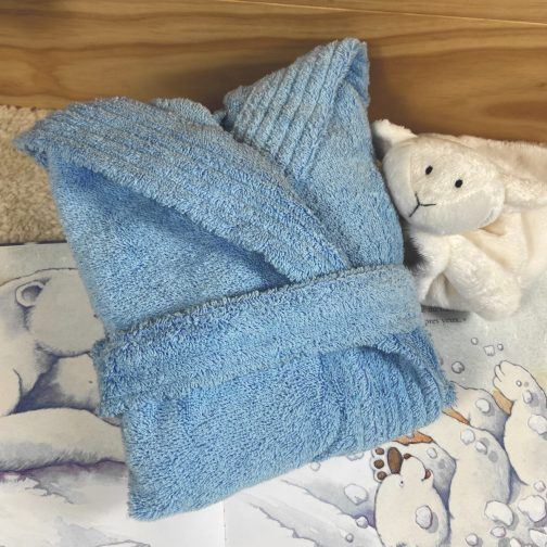 peignoir bébé personnalisé bleu ciel