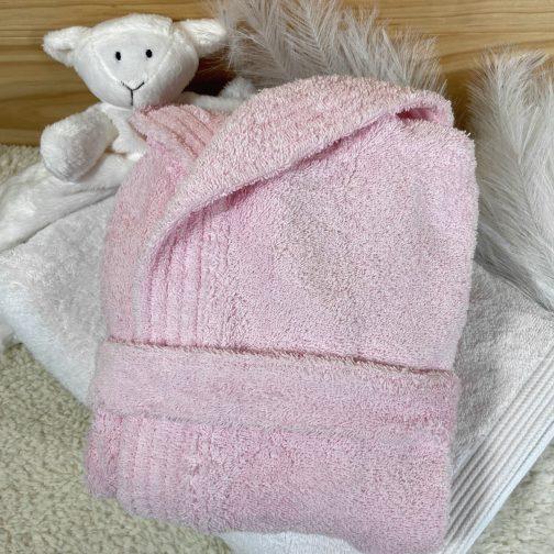 peignoir bébé personnalisé rose clair